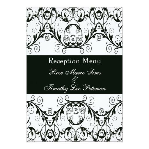 Perfectamente menú blanco y negro 5x7 del boda del invitación 12,7 x 17,8 cm