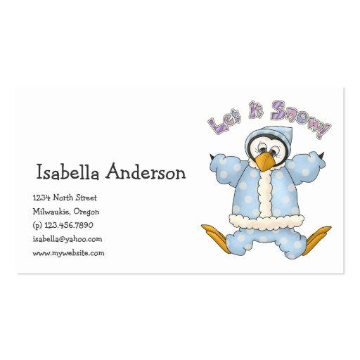 Perfectamente pingüino · Azules cielos Plantilla De Tarjeta De Visita