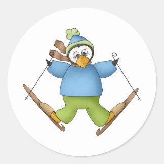 Perfectamente pingüino · Esquí Etiquetas Redondas