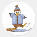Perfectamente pingüino · Snowboard Pegatina Redonda