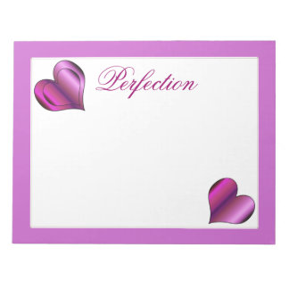Perfection Love Hearts Note Pad