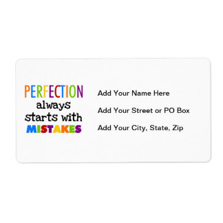 Perfection Starts With Mistakes Shipping Label