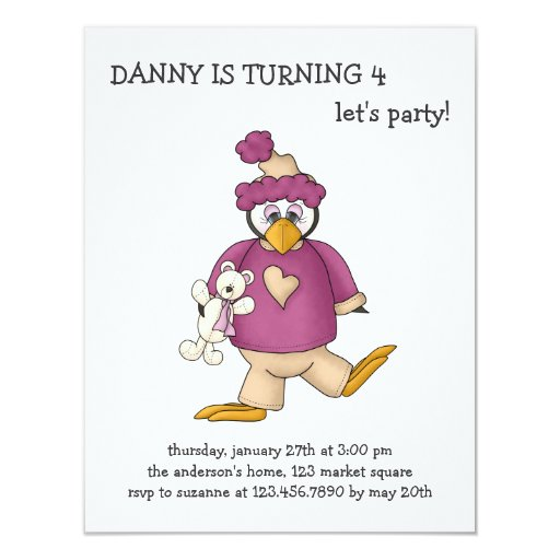 Perfectly Penguin · Baby Purple 4.25x5.5 Paper Invitation Card