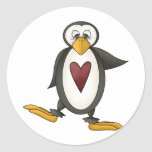 Perfectly Penguin · Heart Classic Round Sticker