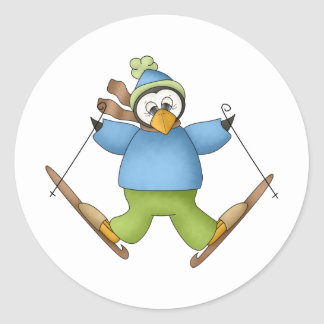Perfectly Penguin · Skiing Round Stickers