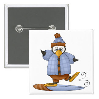 Perfectly Penguin · Snowboarding Pinback Button