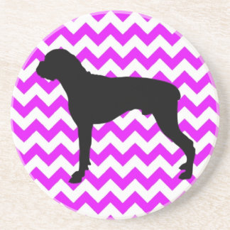 Perfectly Pink Chevron With Boxer Silhouette Coaster