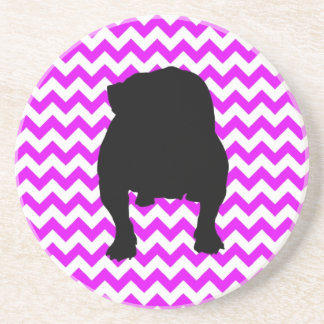 Perfectly Pink Chevron With English Bulldog Shadow Coaster