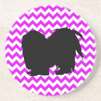 Perfectly Pink Chevron With Shih Tzu Silhouette Sandstone Coaster