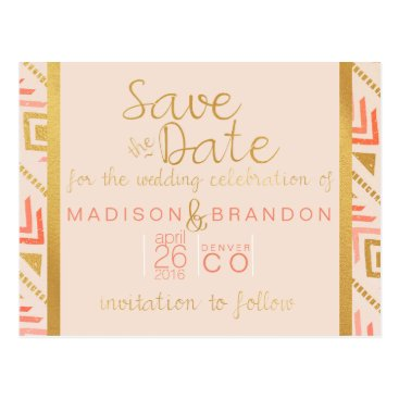 Aztec Themed Perfectly Pink Save the Date Postcard