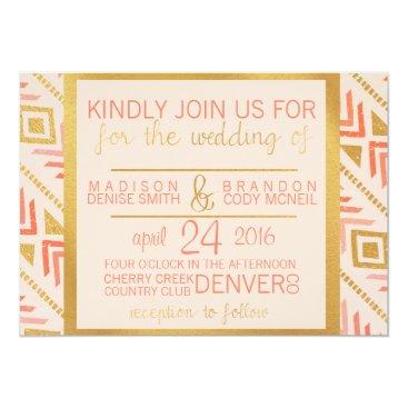Aztec Themed Perfectly Pink Wedding Invitation