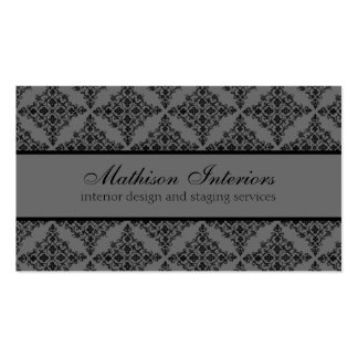 Perfectly Polished Damask Business Card, Gray Business Card