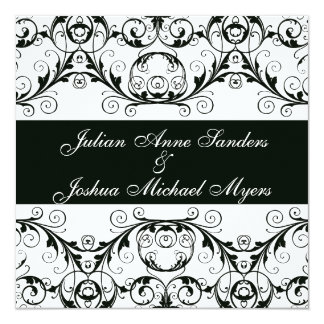 "Perfectly Vintage Black And White Invitations 5.25"" Square Invitation Card"