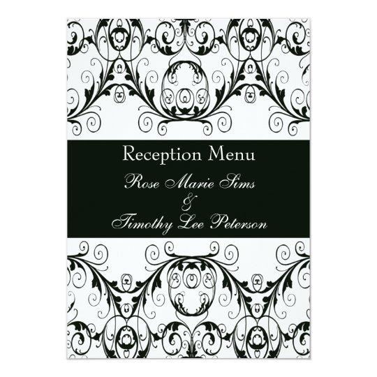 Perfectly Vintage Black And White Wedding Menu 5x7 Card