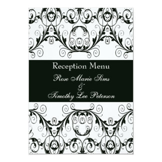 "Perfectly Vintage Black And White Wedding Menu 5x7 5"" X 7"" Invitation Card"