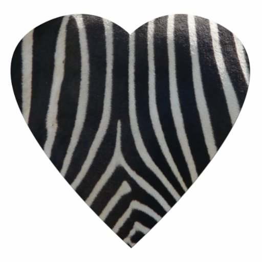 Perfectly Zebra Print Heart Photo Sculpture