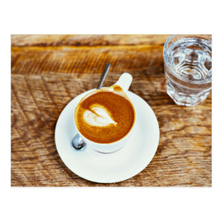 perfecto cappuccino heart  latte with plan water postcard