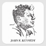 perfil 1963 de John F. Kennedy Pegatina Cuadrada