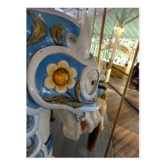 Perfil acorazado azul del caballo, carrusel crecie postales