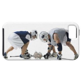 Perfil de dos hombres jovenes que juegan a iPhone 5 funda