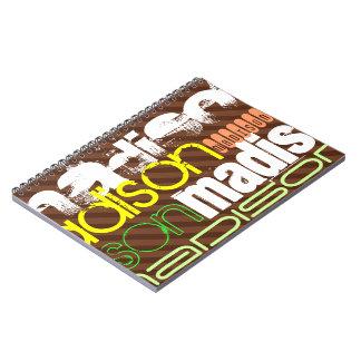 Perfil de nombre de encargo en las rayas de Brown Cuaderno