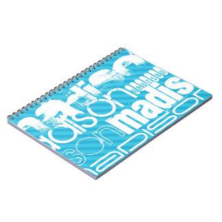 Perfil de nombre de encargo; Rayas azules de cielo Libro De Apuntes Con Espiral