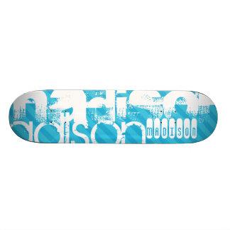 Perfil de nombre de encargo; Rayas azules de cielo Monopatin Personalizado