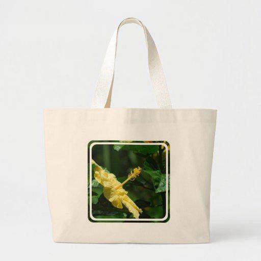 Perfil de un hibisco amarillo bolsas