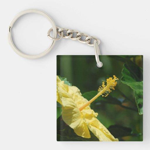 Perfil de un hibisco amarillo llavero
