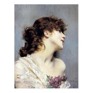 Perfil de una mujer joven de Juan Boldini Tarjetas Postales