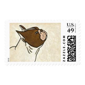 Perfil del dogo francés que mira para arriba sellos