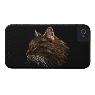 Perfil del fractal de la cabeza del gatito del iPhone 4 Case-Mate fundas