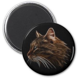 Perfil del fractal de la cabeza del gatito del gat imán redondo 5 cm
