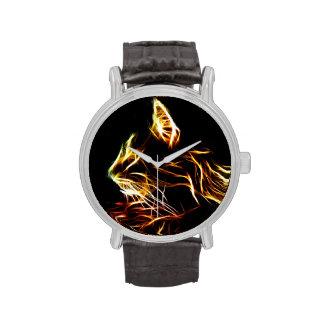 Perfil del gato de Fractalized Relojes De Mano