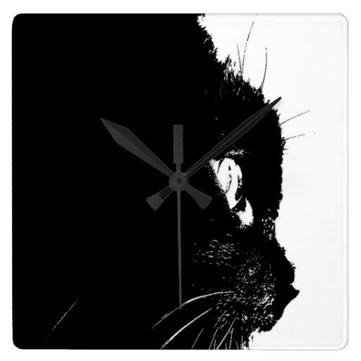 Perfil del gato reloj cuadrado