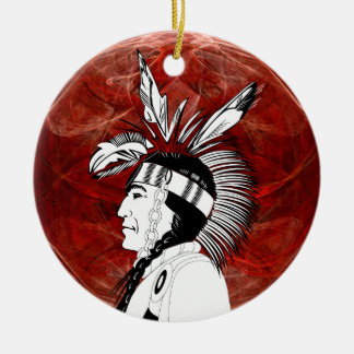Perfil del indio del nativo americano ornamento de reyes magos
