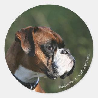 Perfil del lado del perro del boxeador pegatina redonda