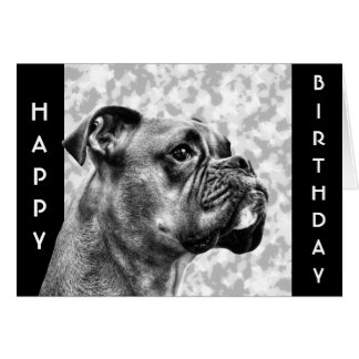 Perfil del perro del boxeador tarjeta de felicitación