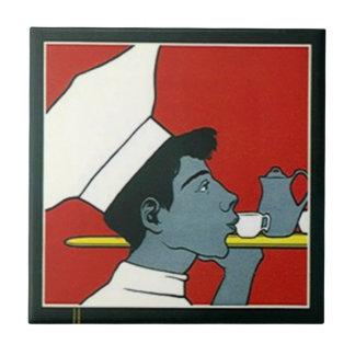 Perfil del té del camarero del cocinero del azulejo cuadrado pequeño