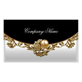 Perfil elegante del oro del boutique del oro negro tarjetas de visita