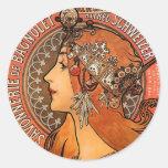 Perfil hermoso de las señoras - Mucha Pegatina Redonda