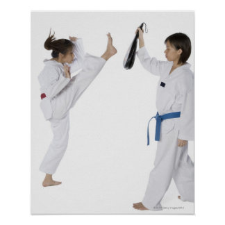 Perfil lateral de practicar de dos mujeres jovenes poster