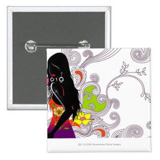 Perfil lateral de una presentación de la mujer pin cuadrada 5 cm