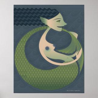 Perfil lateral de una sirena póster