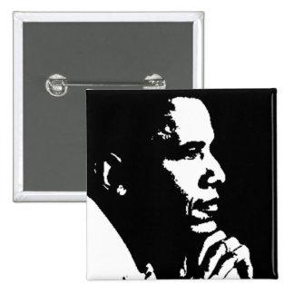 Perfil negro y blanco de Barack Obama Pins