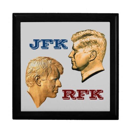Perfiles de JFK y de RFK Joyero Cuadrado Grande