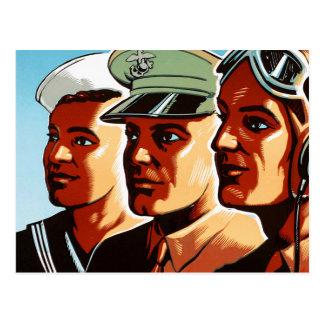 Perfiles retros de las fuerzas armadas de arma de tarjeta postal