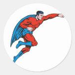 perforación corriente masculina caped super héroe pegatinas redondas