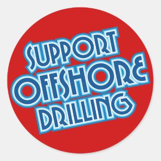 Perforación petrolífera en el mar de la ayuda pegatinas redondas