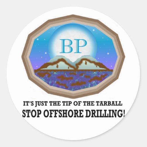Perforación petrolífera en el mar pegatinas redondas